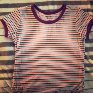 Red pink green and white striped cotton shirt